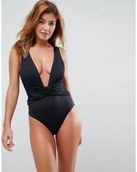 ASOS DESIGN Recycled Plunge Ruched Front Swimsuit