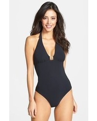 Tory Burch Logo Halter One Piece Swimsuit Black Medium