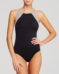 DKNY Zipper Down High Neck Maillot One Piece Swimsuit