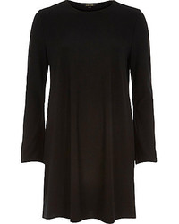 River Island Black Fluted Sleeve Swing Dress
