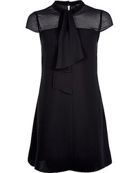 River Island Black Pussybow Swing Dress