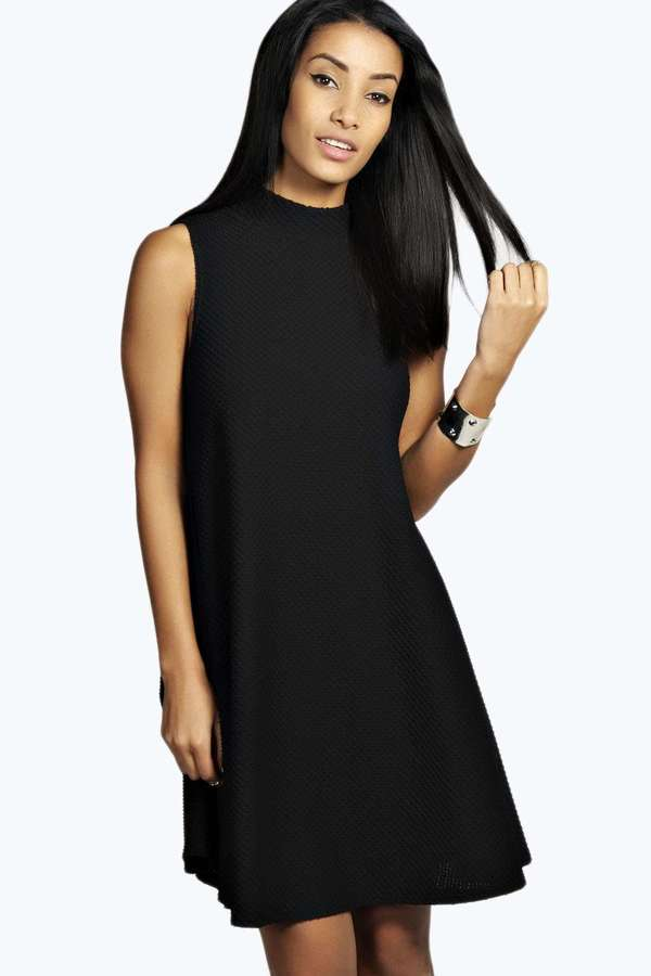 28 Boohoo Lucy Textured Turtle Neck Swing Dress
