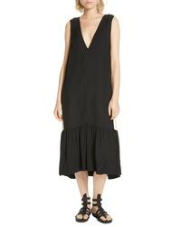 Lee Mathews Didion Parasol Contrast Panel Midi Dress