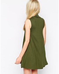 Asos Petite Sleeveless Swing Dress With Turtleneck