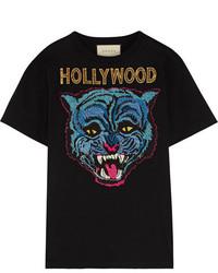 Gucci Appliqud Cotton Jersey T Shirt Black
