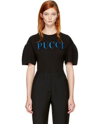 Emilio Pucci Black And Blue Glitter Logo T Shirt