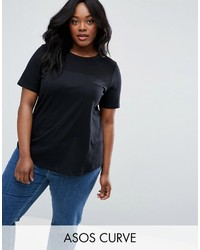 Asos Curve Curve T Shirt With Contrast Rib Yoke