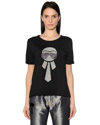 Fendi Glitter Karlito Cotton Jersey T Shirt