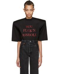 Vetements Ssense Black You Fuckn Asshole Football Shoulder T Shirt