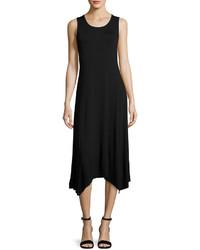 Neiman Marcus Lace Back Handkerchief Hem Tank Dress Black