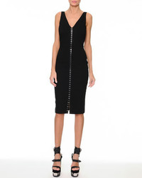 Versace Silver Studded Tank Dress Black