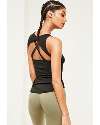 Missguided Active Black Strap Back Tank Top Top