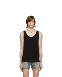 Saint Laurent Black Distressed Tank Top