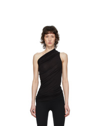 Rick Owens Lilies Black Heavy Jersey One Shoulder Tank Top