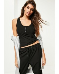 Missguided Black Popper Front Tank Top