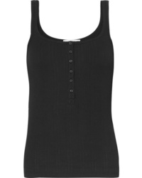 Vince Henley Ribbed Cotton Jersey Tank