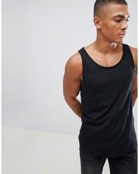 Esprit Longline Vest With Raw Curved Hem In Black