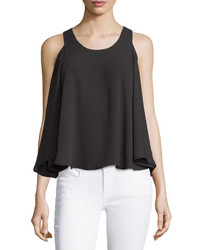 BCBGMAXAZRIA Maraiya Layered Cold Shoulder Tank Black