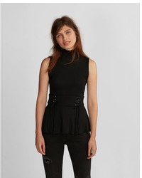 Express Mock Neck Ribbed Corset Tank