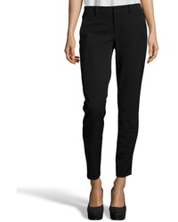 Vince Black Stretch Cotton Strapping Cropped Tapered Ankle Pants