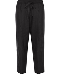 DKNY Linen Blend Tapered Pants Black