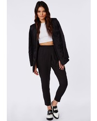 Missguided Louisa Pleat Front Tapered Leg Trousers Black