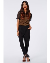 Missguided Vera Tapered Trousers Black