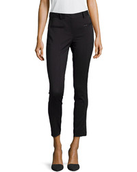 Neiman Marcus Tapered Stretch Suiting Pants Black