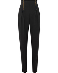 Versace Zip Detailed Wool Blend Tapered Pants