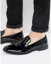 Asos Tassel Loafers In Black Patent