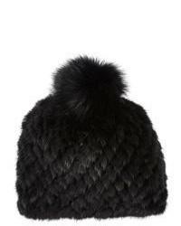 Barneys New York Mink Fox Fur Knit Beanie
