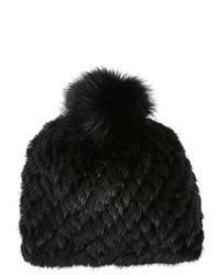 Mink fox fur knit beanie medium 354995