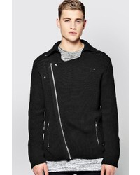 Black Textured Biker Jacket