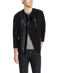 Calvin Klein Long Sleeve Solid Full Zip Mix Media Atextured Moto Jacket