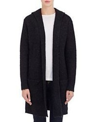 Barneys New York Fuzzy Sweater Coat Black Size S