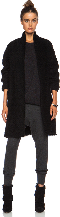 Isabel Marant Gabriel Herringbone Wool Blend Coat In Black | Where