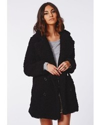 Missguided Celine Teddy Faux Fur Coat Black
