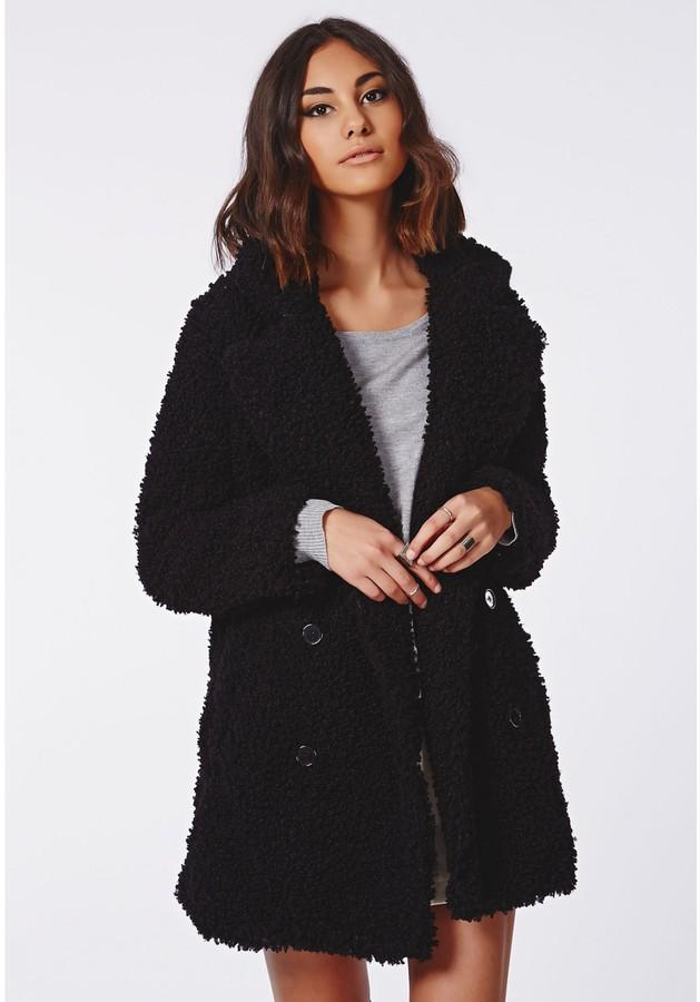 6345c3f4c36 Missguided Celine Teddy Faux Fur Coat Black, $109   Missguided ...