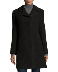 Fleurette Textured Single Breasted Notched Collar Coat Black