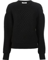 Women's Black Textured Coat, Black Textured Crew-neck Sweater ...