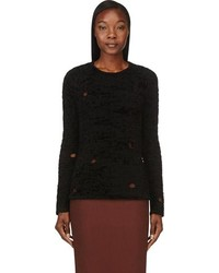 Black distressed textured knit pullover medium 85251