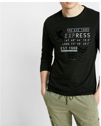 Express Long Sleeve Crew Neck Military Textured Graphic Tee