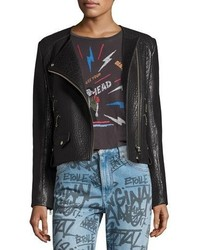 Etoile Isabel Marant Kankara Textured Leather Jacket Black