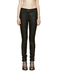 Black textured leather trousers medium 654941