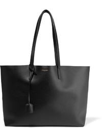 Black Textured Leather Tote Bag