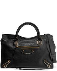 Balenciaga City Glossed Textured Leather Tote Black