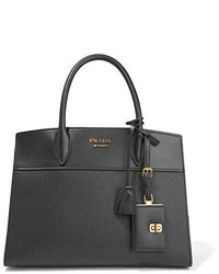 Prada Esplanade Large Smooth And Textured Leather Tote Black
