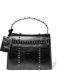Valentino My Rockstud Glossed Textured Leather Tote Black