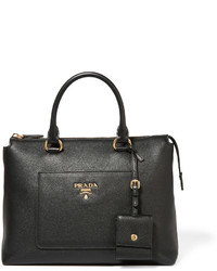 Prada Textured Leather Tote Black