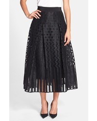 Illusion textured pleated midi skirt medium 269593